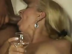 Blonde Brazilian cougar granny gets gangbanged