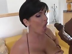 White brunette milf in stocking gets big black dick