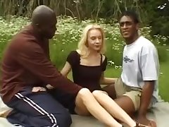 Hardcore outdoor blonde interracial fuck